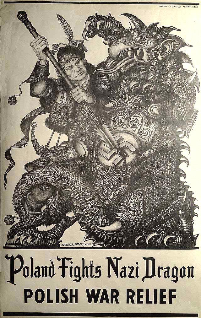 图2,海报:poland fights nazi dragon(波兰勇斗纳粹恶魔).